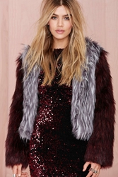 Nasty Gal Glamorous Double Trouble Faux Fur Jacket Heather Gray