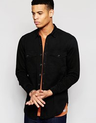 Pull And Bear Pullandbear Overshirt In Black Cotton Black