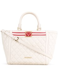 Love Moschino Quilted Trapeze Tote Women Polyurethane One Size White