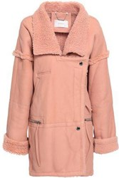 Zimmermann Double Breasted Shearling Coat Blush
