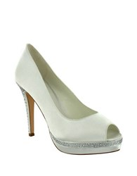 Menbur Julia Peep Toe Stiletto Pumps Ivory