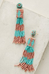 Anthropologie Leotie Beaded Drop Earrings Turquoise
