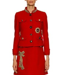 Dolce And Gabbana Chain Embellished Wool Jacket Red