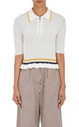 3.1 Phillip Lim Women's Striped Cotton Flutter Hem Polo Shirt White Black Yellow White Black Yellow