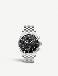 Iwc Iw377710 Pilot's Stainless Steel Watch Silver Black