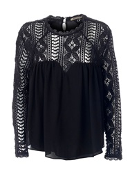 Red Soul Blouse With Laced Neck And Sleeves Black