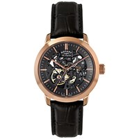 Rotary Le90540 04 Les Originales Jura Rose Gold Plated Leather Strap Watch Black