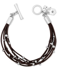 Lucky Brand Silver Tone Leather Bracelet
