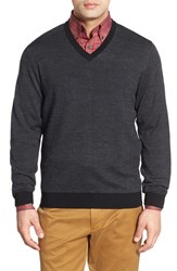 Men's Bobby Jones Merino Wool V Neck Sweater Black