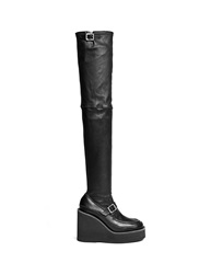 Sacai Thigh High Leather Loafer Wedge Boots Black