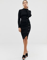 Lipsy Knitted Rib Skirt With Button Through In Black Two Piece Black