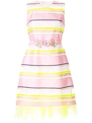 Delpozo Sheer Striped Belted Dress Pink