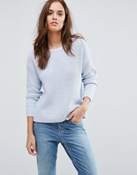 Selected Knit Pullover Top Blue