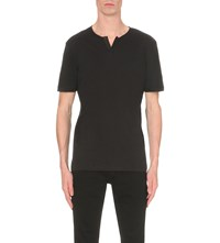 The Kooples Leather Trim Cotton Jersey T Shirt Black