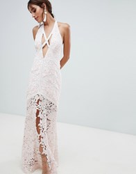The Jetset Diaries Frangapani Strappy Evening Dress Cream Blush Pink