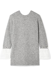 3.1 Phillip Lim Faux Pearl Embellished Satin Trimmed Knitted Sweater Gray