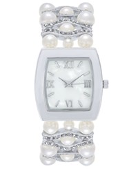 Charter Club Women's Silver Tone Imitation Pearl And Pave Bracelet Watch 29Mm Created For Macy'