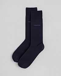 Calvin Klein Giza Cotton Flat Knit Socks Navy