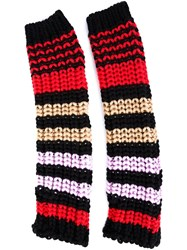 Sonia Rykiel Striped Knit Fingerless Gloves Multicolour
