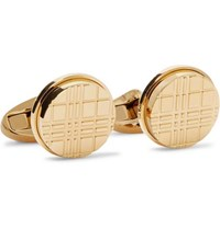 Burberry Checked Gold Tone Cufflinks