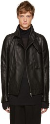 Rick Owens Black Leather Trench Bomber Jacket