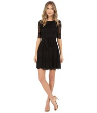 Jessica Simpson 3 4 Novelity Lace Dress With Self Sash Black Women's Dress