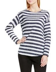 Vince Camuto Striped Slubby Long Sleeve Tee Navy