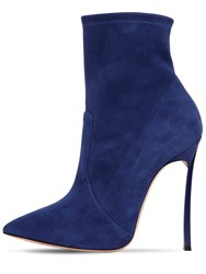 Casadei 120Mm Blade Stretch Suede Ankle Boots Blue