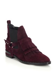 Freda Salvador Suede Fringed Harness Ankle Boots Bordeaux