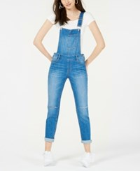 Dollhouse Juniors' Skinny Denim Overalls Skylark