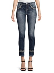 Miss Me Mid Rise Sparkled Cuffed Skinny Jeans Multi