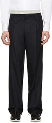 Kolor Navy Embroidered Wool Trousers