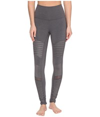 Alo Yoga High Waisted Moto Leggings Stormy Heather Stormy Heather Glossy Women's Workout Gray