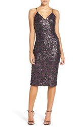 Dress The Population Women's 'Nina' Sequin Midi Black Fuschia