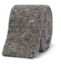 Brunello Cucinelli 5.5Cm Melange Knitted Wool And Cashmere Blend Tie Gray