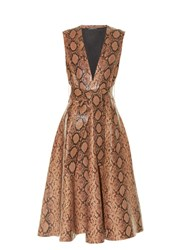 Alexander Mcqueen Snakeskin Print Leather A Line Midi Dress