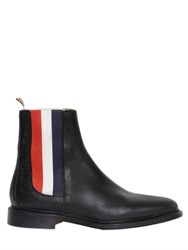 Thom Browne 20Mm Striped Sides Pebbled Leather Boots