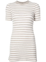 The Elder Statesman Cashmere Striped Knitted Dress Nude And Neutrals
