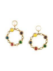 Chanel Vintage Hoop Clip On Earrings Multicolour