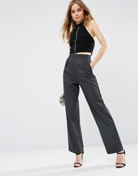 Asos Smart Wide Leg Trousers With Pleat Detail Charcoal Grey