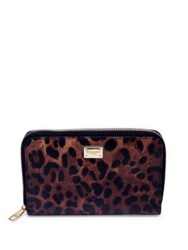 Dolce And Gabbana Leopard Print Leather Zip Around Wallet