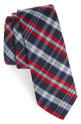 1901 'Pippen' Plaid Wool And Silk Tie Red