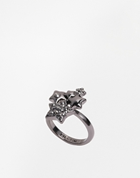 Pilgrim Star Adjustable Ring Hematiteplatedhema