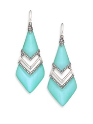 Alexis Bittar Coral Deco Lucite And Crystal Chevron Drop Earrings Silver Aqua