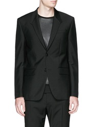 Givenchy Madonna Collar Leather Trim Wool Mohair Blazer Black