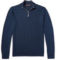 Loro Piana Cotton Silk And Cashmere Blend Half Zip Sweater Navy