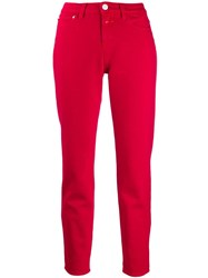 Closed High Waisted Slim Fit Jeans Red