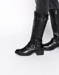 Ravel Strap Leather Knee Boots Black