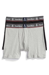 Psycho Bunny Men's Motion 2 Pack Boxer Briefs Navy Heather Grey