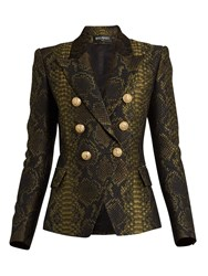 Balmain Double Breasted Snakeskin Cloque Blazer Black Green